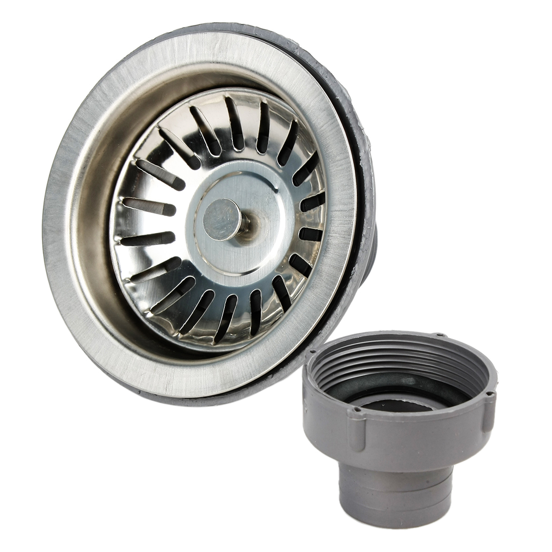 Kitchen Sink Strainer Basket Drain Garbage Stopper Gray Silver Tone w Fixed Post Basket