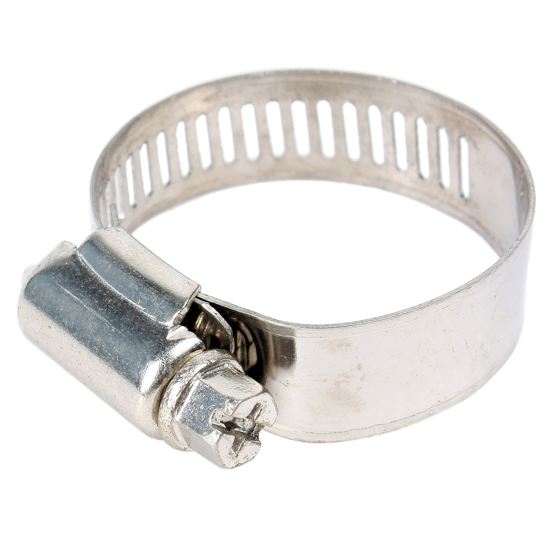 15pcs Silver Tone Stainless Steel Adjustable Worm Drive Hose Clamp Clip Hoop for 21-38mm Pipe