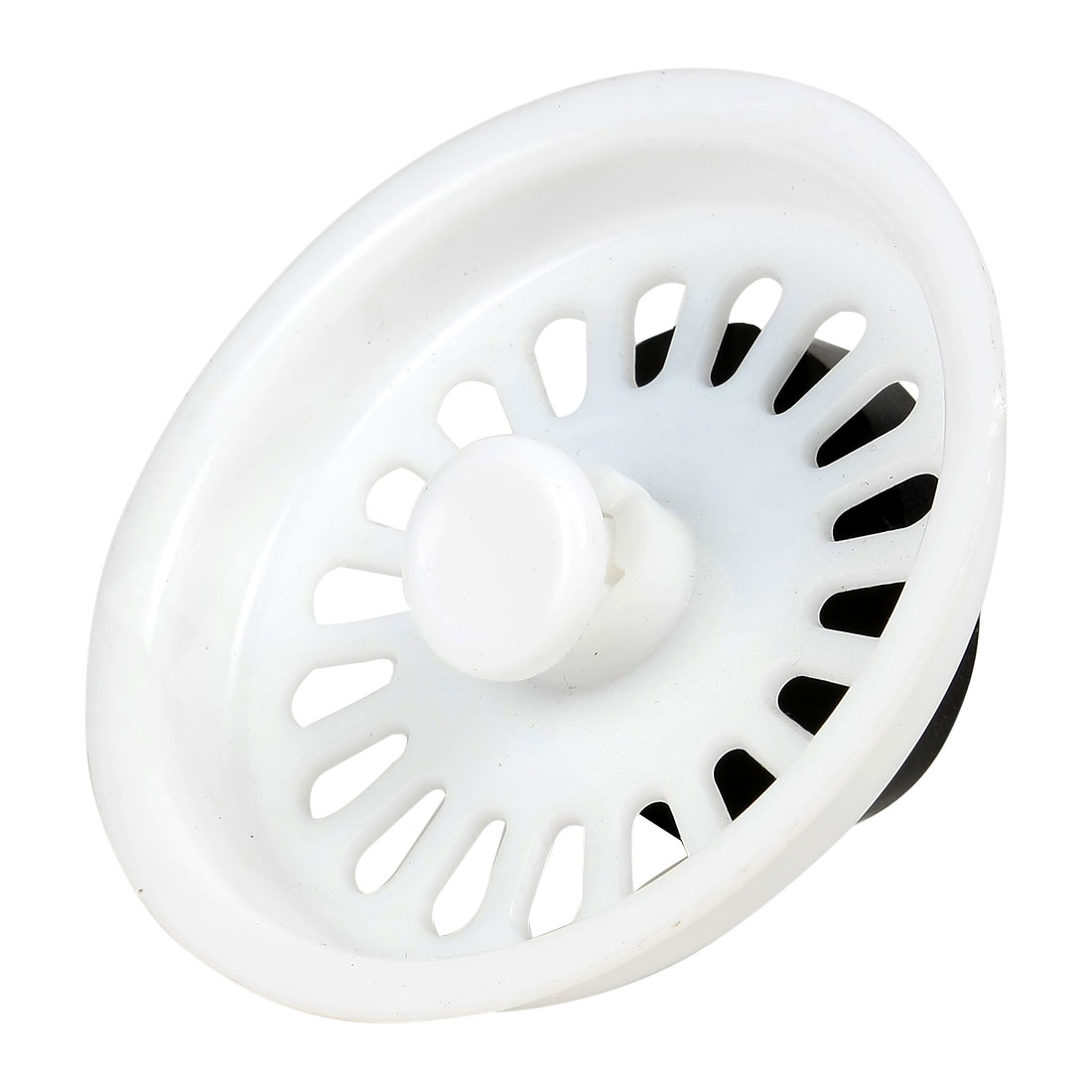 Kitchen Basin Rubber Stopper Removable White Plastic Sink Strainer Basket for 73mm Dia Drain