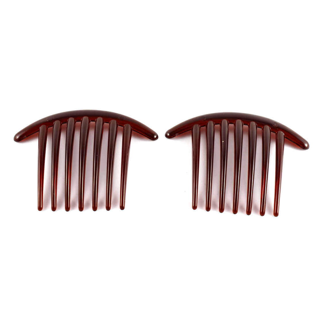 Lady Woman 7 Teeth Plastic Hair Comb Clip Hairclip Clamp Dark Red 2 Pcs
