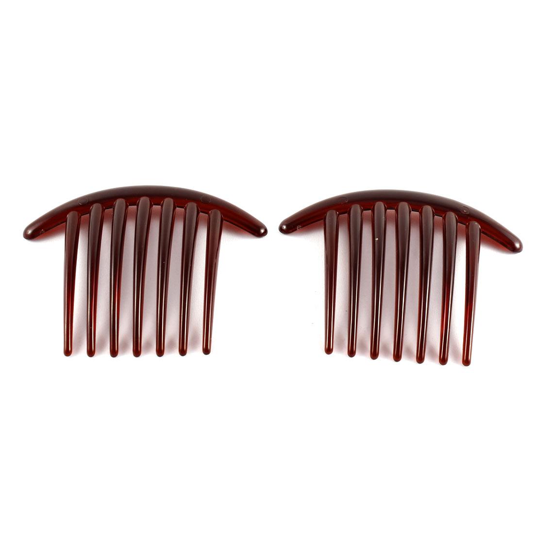 Lady Woman 7 Teeth Plastic Hair Comb Clip Hairclip Clamp Dark Red 2 Pcs