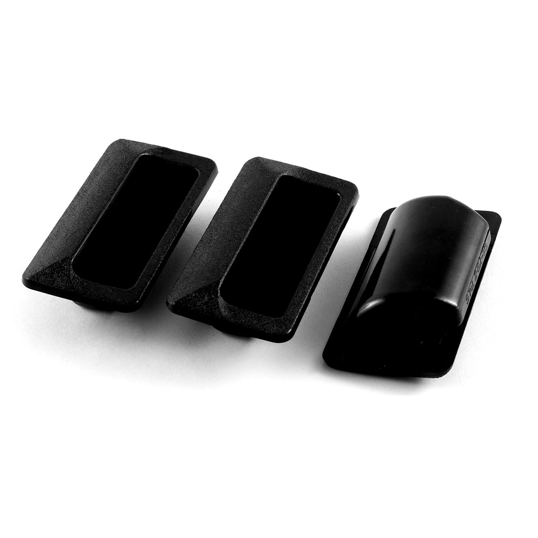 Cabinet Cupboard Drawer Recessed Black Plastic Flush Pull Handle 79 x 41mm 3pcs