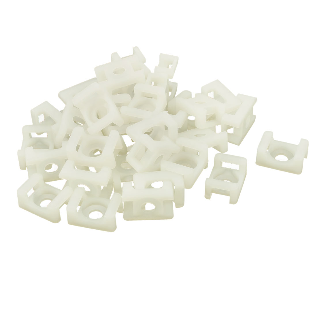 36Pcs 9.3mm Cable Tie Mount Wire Buddle Saddle Type Plastic Holder White