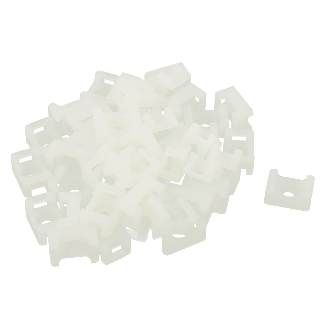 46pcs 5mm Cable Tie Mount Wire Buddle Saddle Type Plastic Holder White