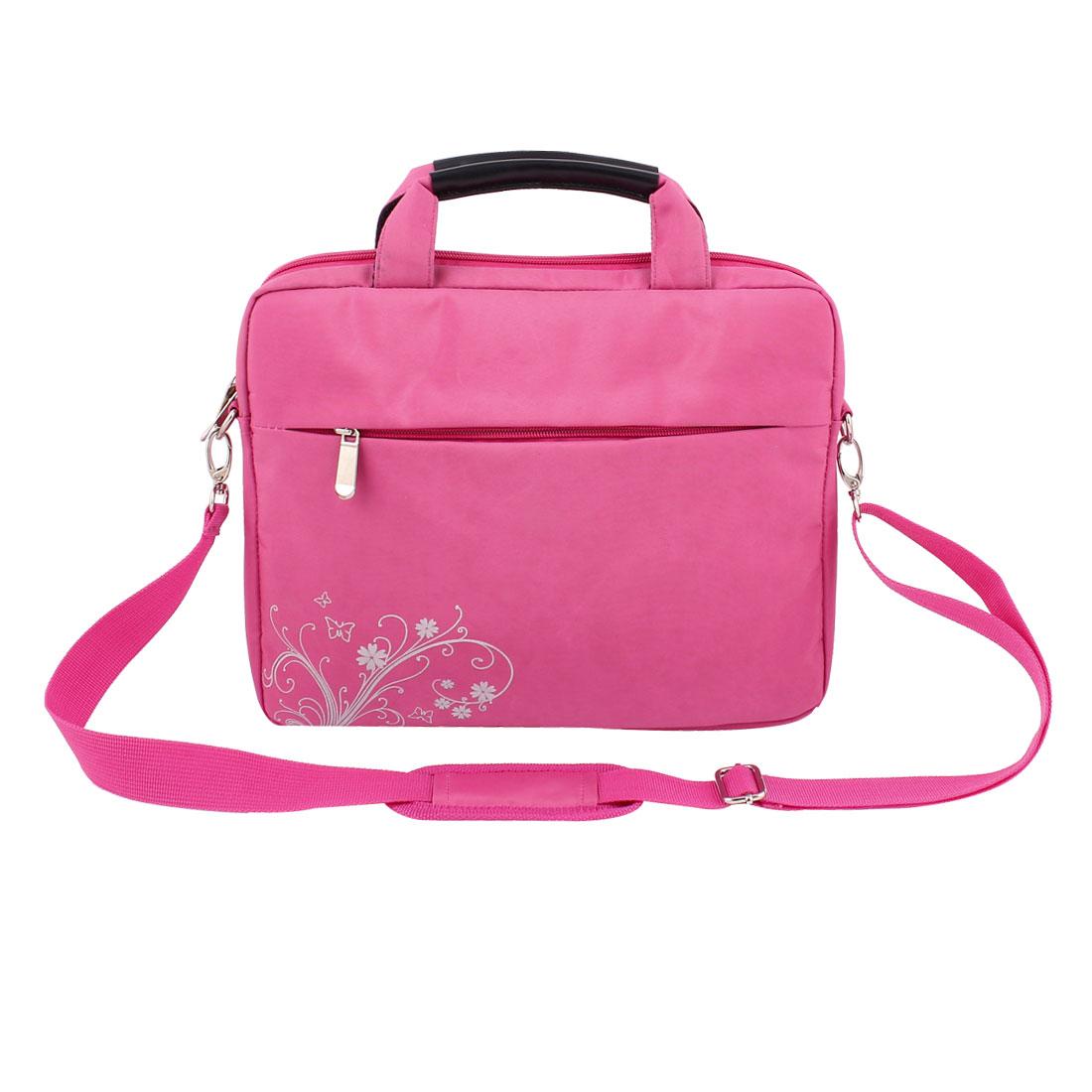 Nylon Zipper PC Laptop Notebook Handle Sleeve Case Bag Fuchsia 26cm x 31cm