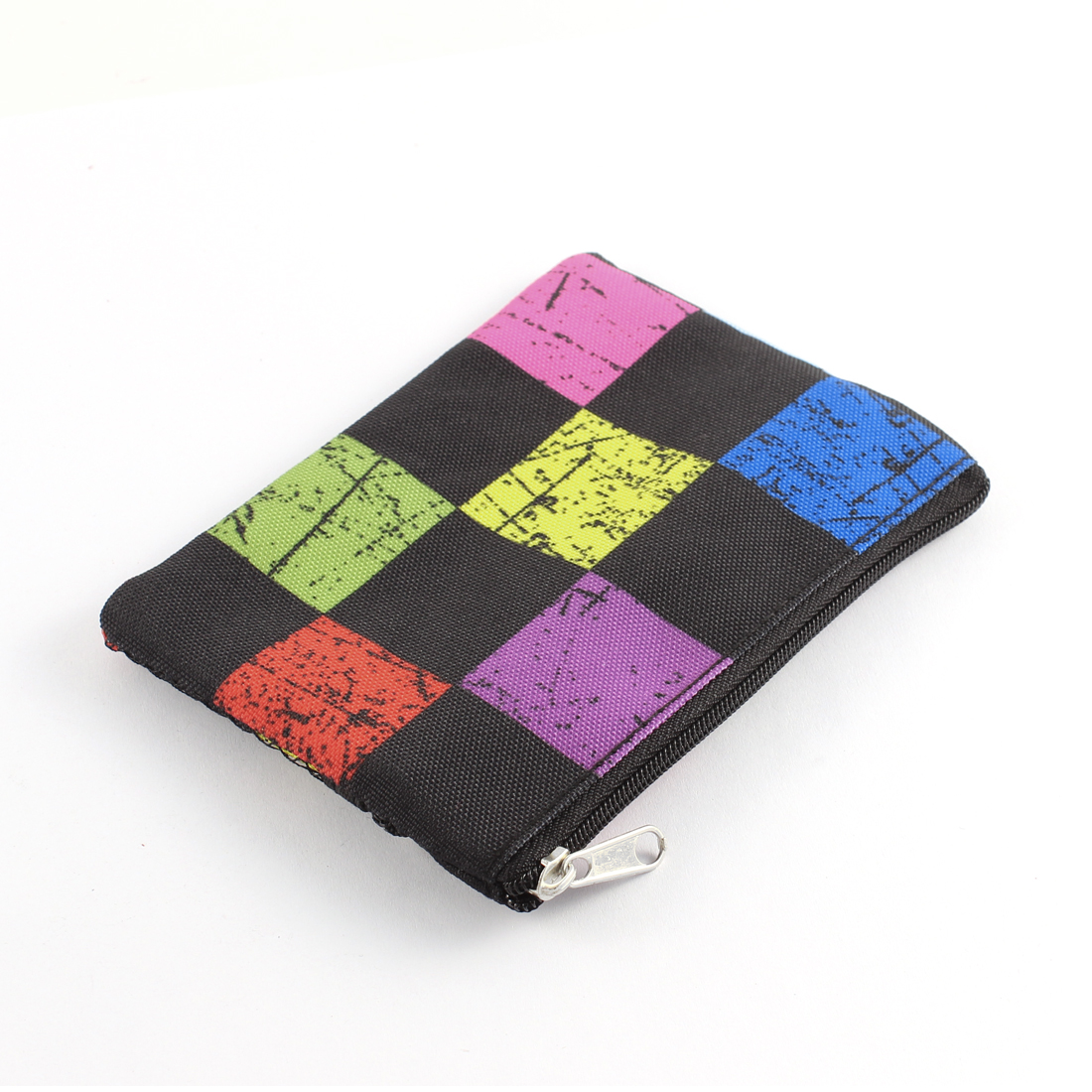 Dual Zippered Grid Pattern Nylon Mesh Coin Purse Toiletry Cosmetic Bag Multicolor
