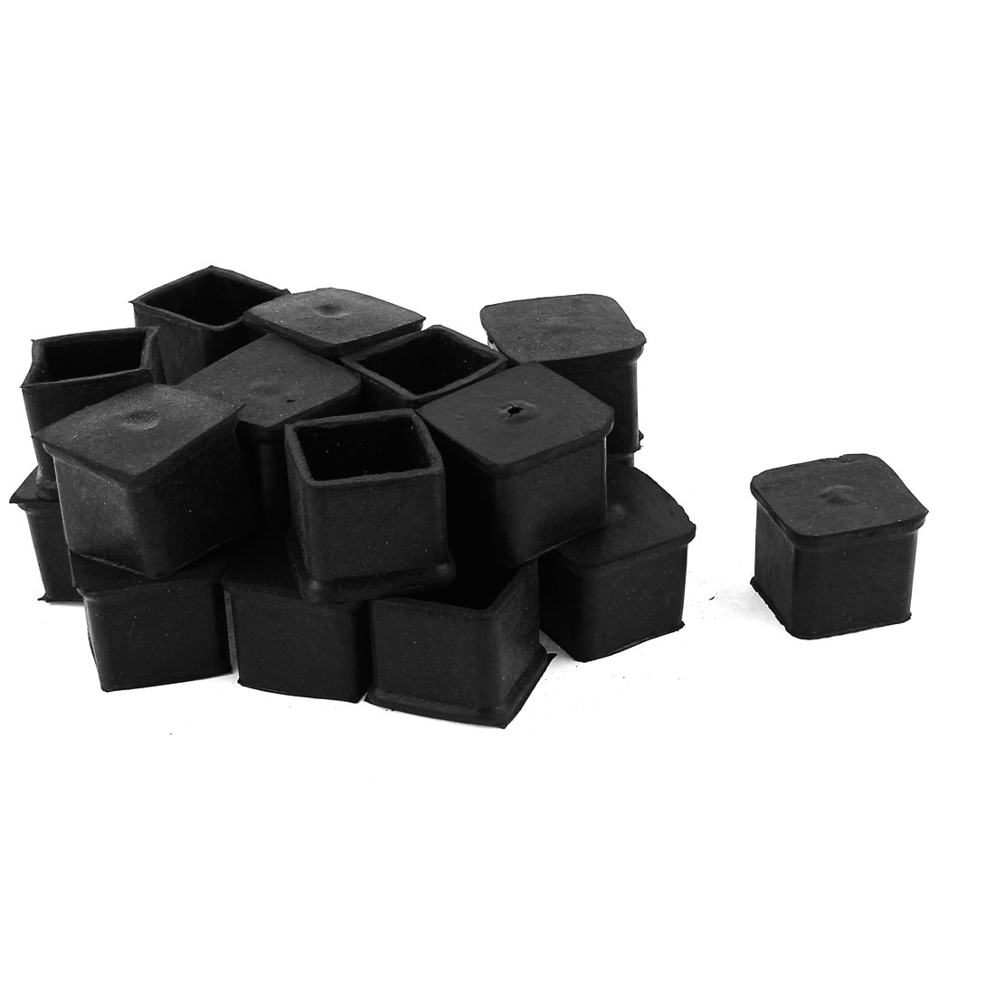 Square Shape Furniture Foot Covers Protector 30mmx30mm Black 20pcs