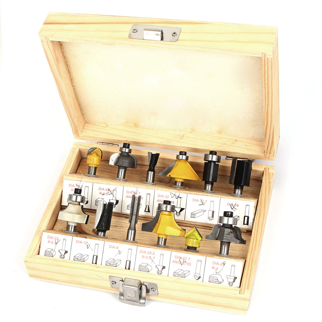 Tungsten Carbide Rotary Wood Woodworking Tool Metal Router Bit Set 12 in 1