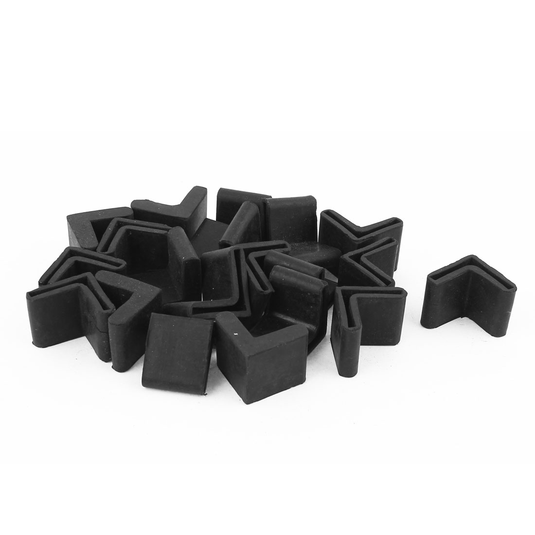 20 Pcs Triangle Shaped Furniture Table Corner Cushion Protector 25mmx25mm Black