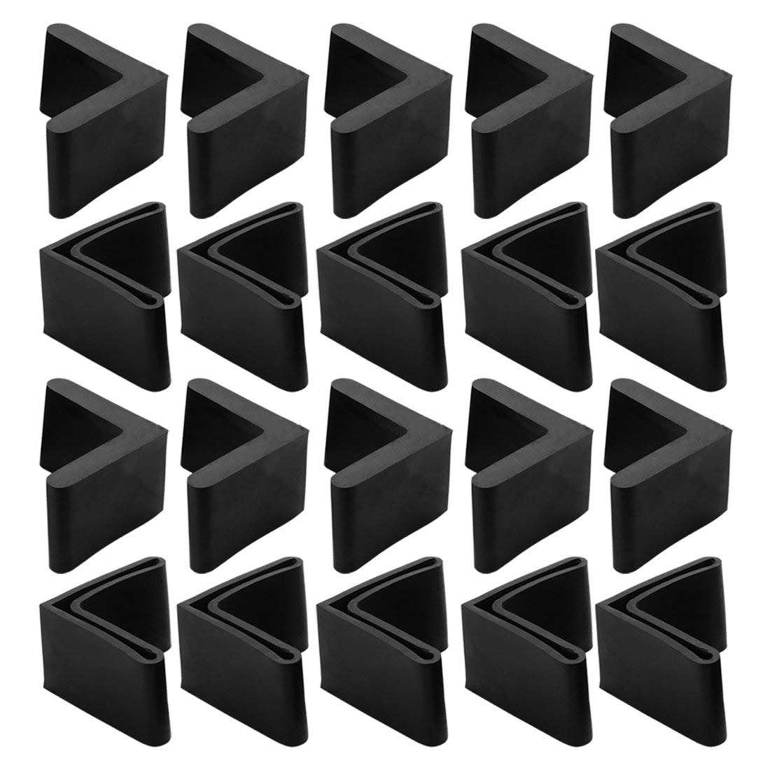 20 Pcs Triangle Shaped Furniture Table Corner Cushion Protector 40mmx40mm Black