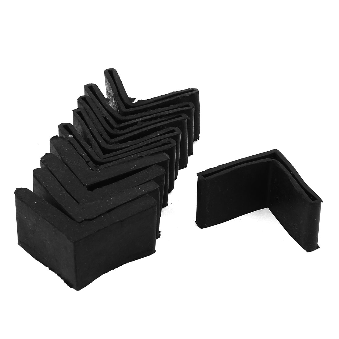 10 Pcs Triangle Shaped Furniture Table Corner Cushion Protector 55mmx55mm Black