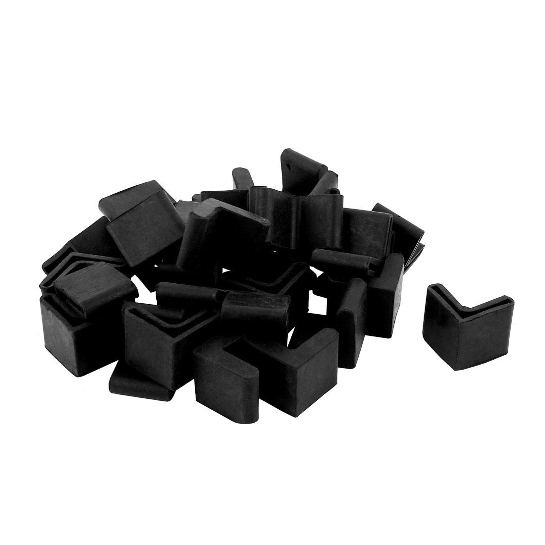 30 Pcs Triangle Shaped Furniture Table Corner Cushion Protector 25mmx25mm Black
