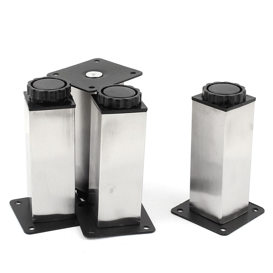 Kitchen Cabinet 120mm Height Adjustable Plinth Leg Silver Tone Black 4pcs
