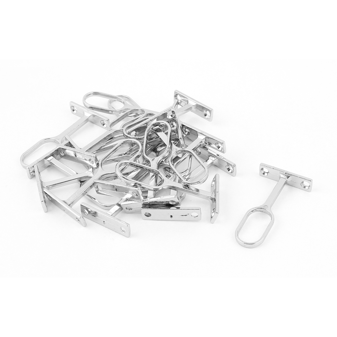 Metallic Wall Mounted Clothes Pipe Lever Bracket Support Silver Tone 20pcs