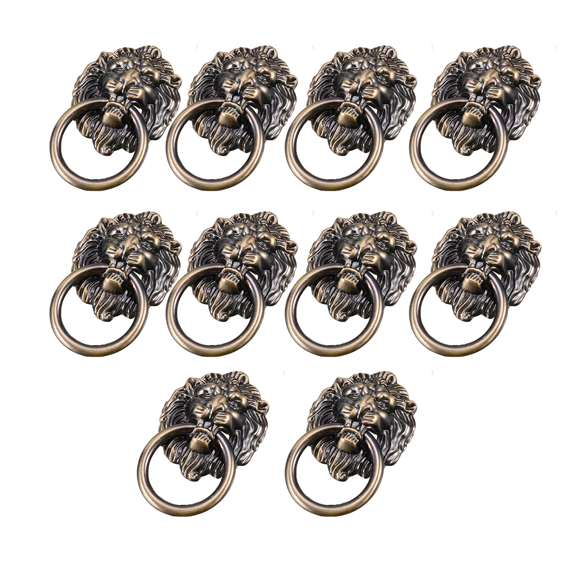 Vintage Style Metal Lion Head Design Dresser Cabinet Door Pull Handle 10pcs