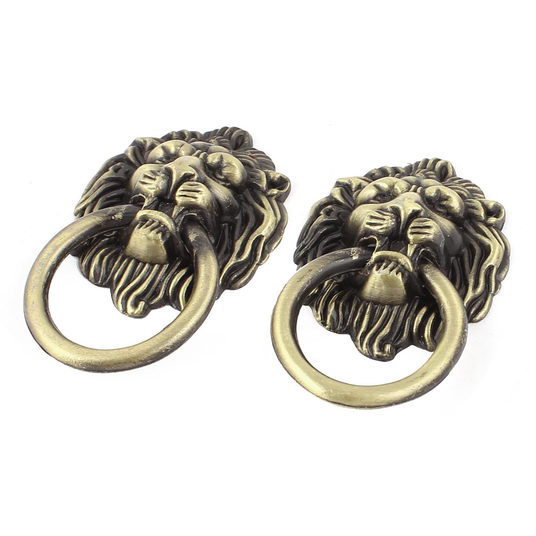 Antique Style Lion Head Design Drawer Ring Pull Handle Knob 2pcs