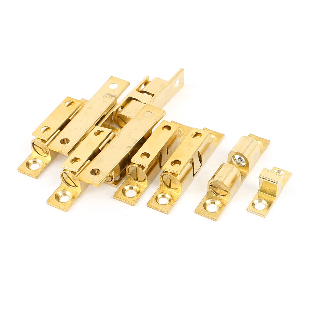 Adjustable Door Roller Double Ball Catch Latch 50mm Length Solid Brass Tone 8pcs