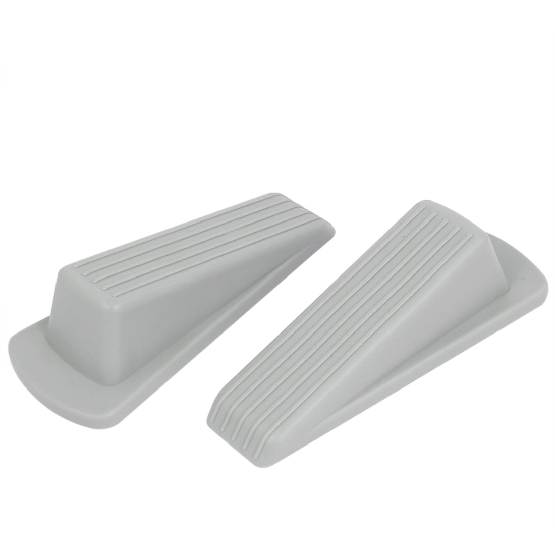 Home Office Floor Rubber Door Stop Stoppers Jam Block Wedges Gray 2pcs