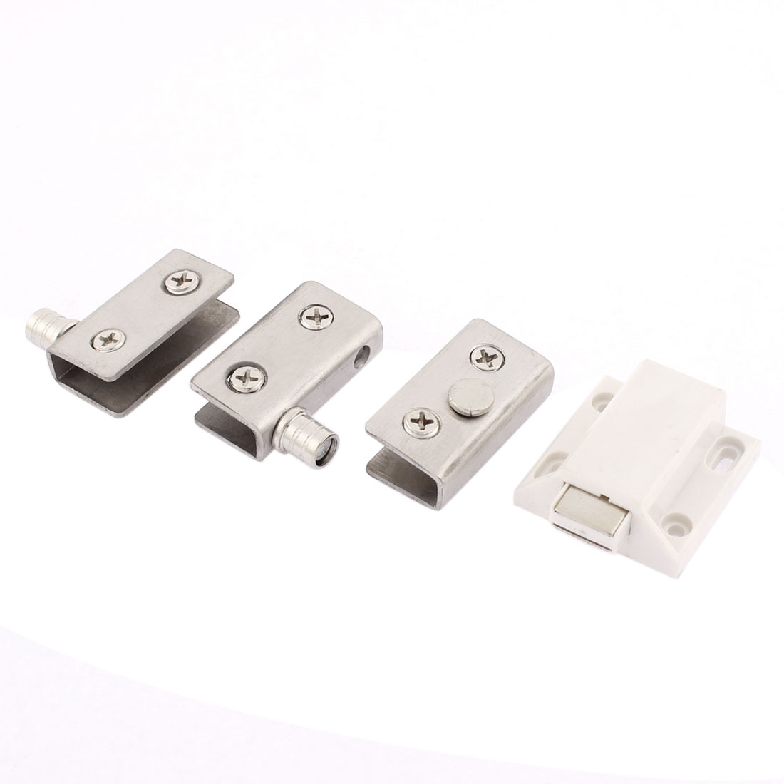 Cupboard Door 6mm-8mm Thickness Glass Clamp Clip Magnetic Catch Latch Set