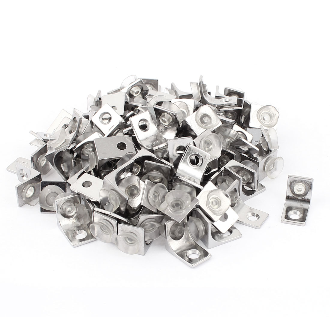 100 Pcs Glass Shelf Right Angle Suction Cup Fixing Fastener Clip Clamp Bracket
