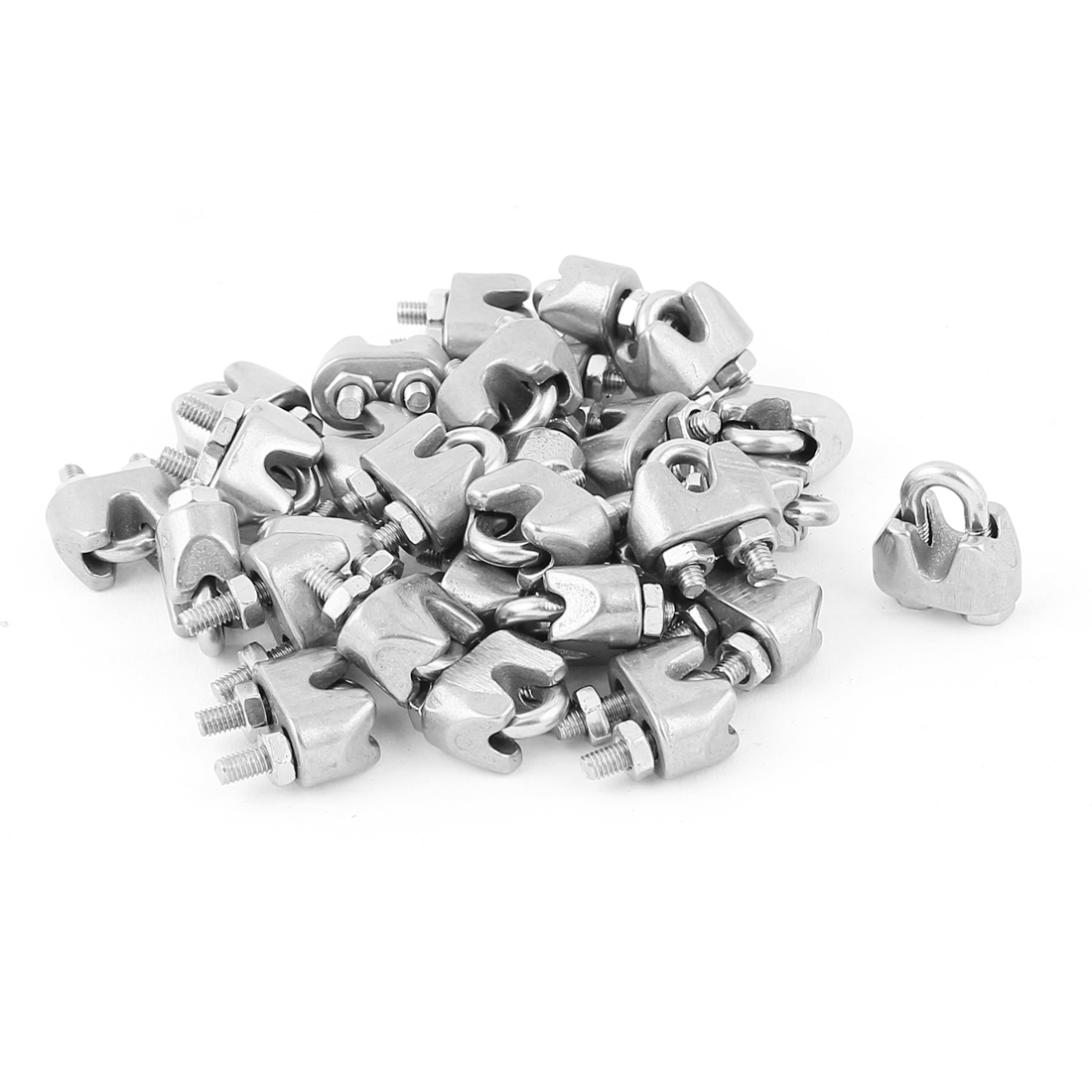 M2 Stainless Steel Wire Rope Cable Clamp Fastener 30pcs