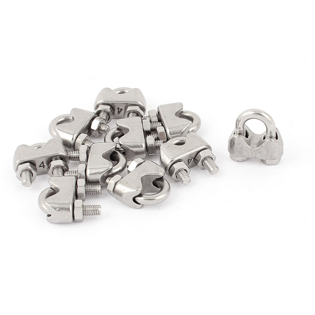 "4mm 1/6"" Stainless Steel Wire Rope Cable Clamp Clips 10pcs"