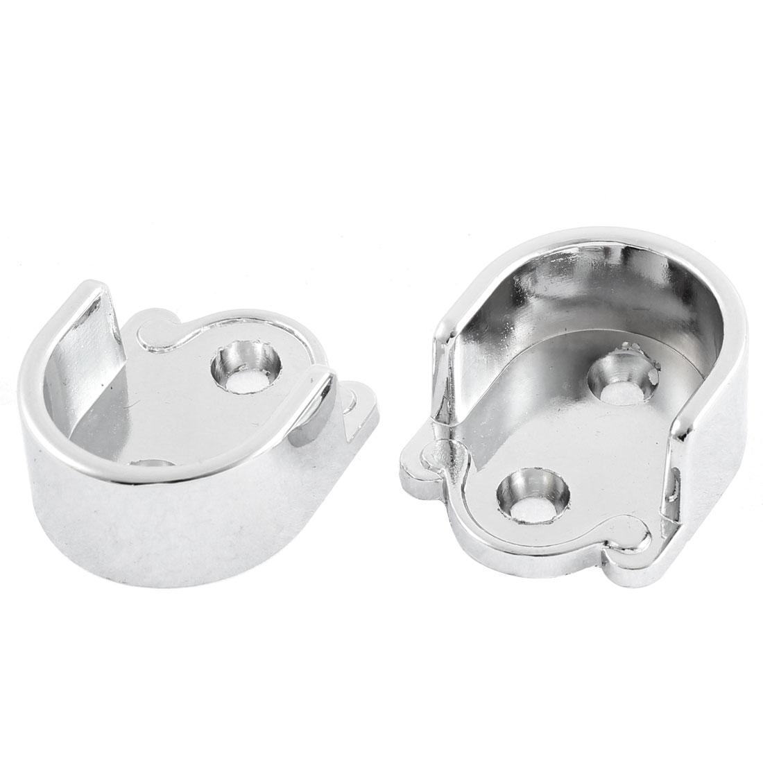 Metal 25mm Dia Clothes Closet Rod Flange Holder Bracket 2 Pcs Silver Tone