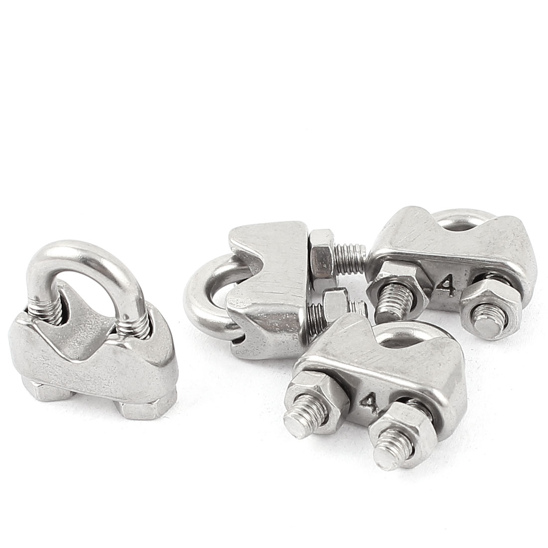 "4mm 1/6"" Stainless Steel Wire Rope Cable Clamp Clips 4pcs"