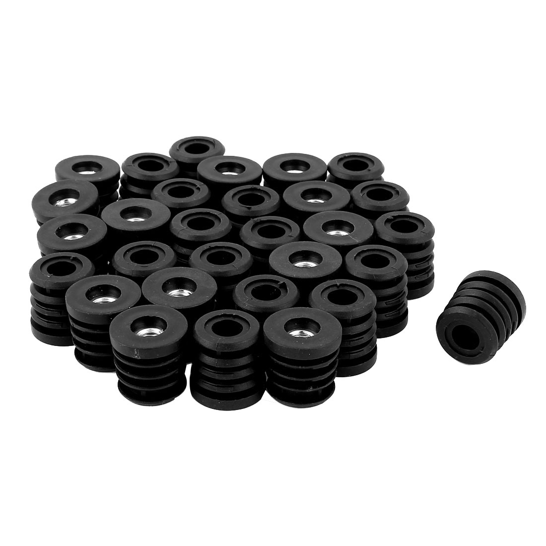 Furniture 7mmx25mm Screw Type Round Threaded Tubing Insert Caps Covers 30 Pcs