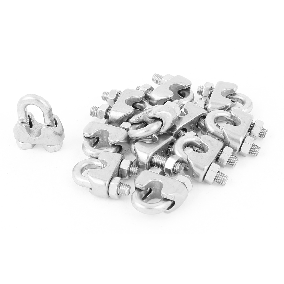 "5mm 3/16"" Stainless Steel Wire Rope Cable Clamp Clips Fastener 12pcs"