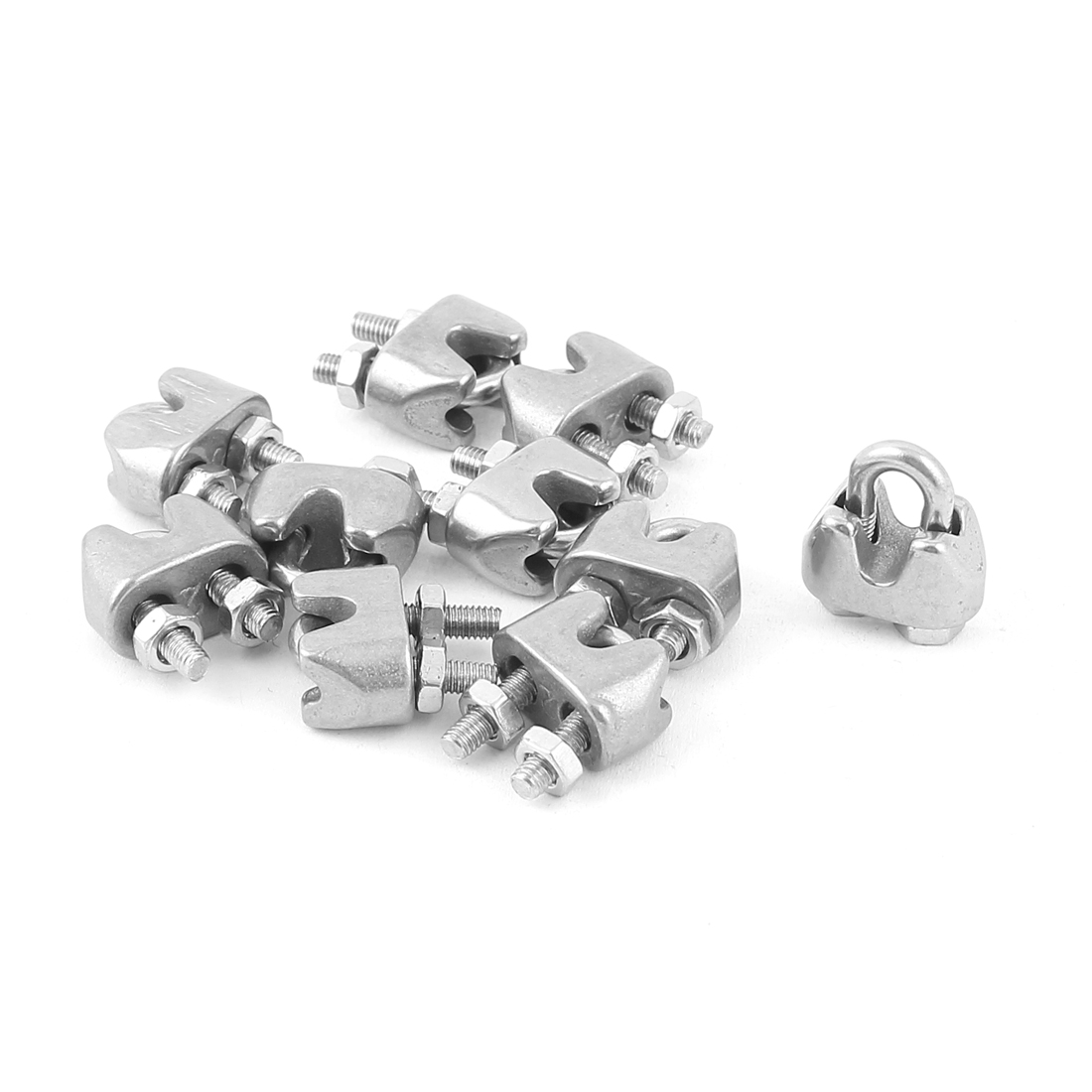 "3mm 1/8"" Stainless Steel Wire Rope Cable Clamp Fastener 10pcs"