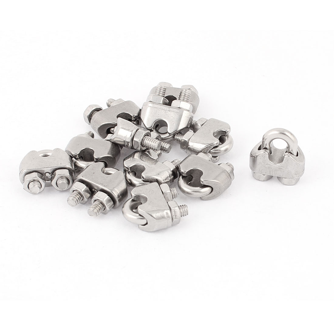 """12 Pcs 3mm 1/8"""" Stainless Steel Wire Rope Cable Clamp Clips Fastener"""