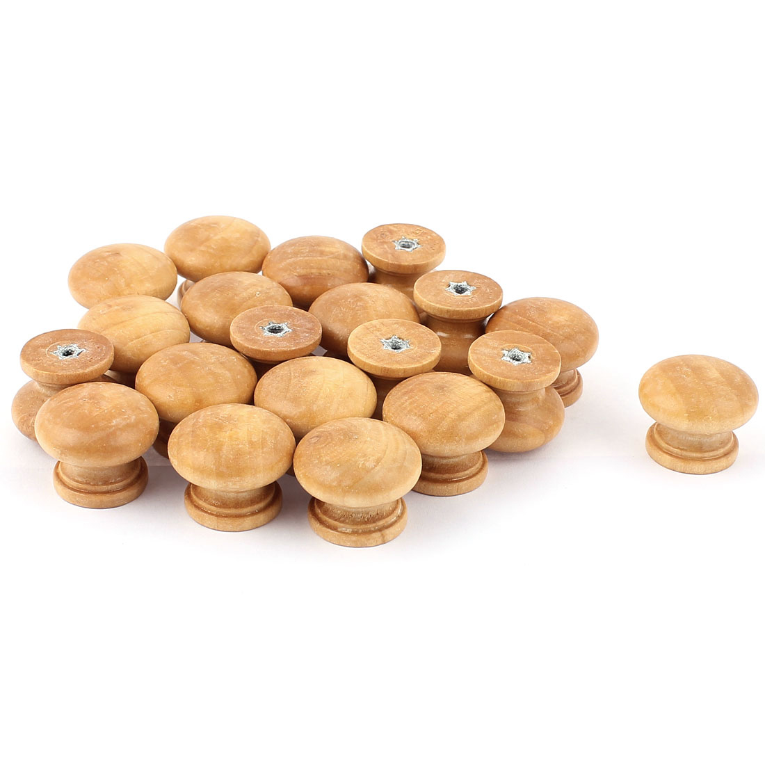 Cupboard Kitchen Cabinet Door Round Wooden Pull Knob Handles 27mm 20 Pcs Khaki