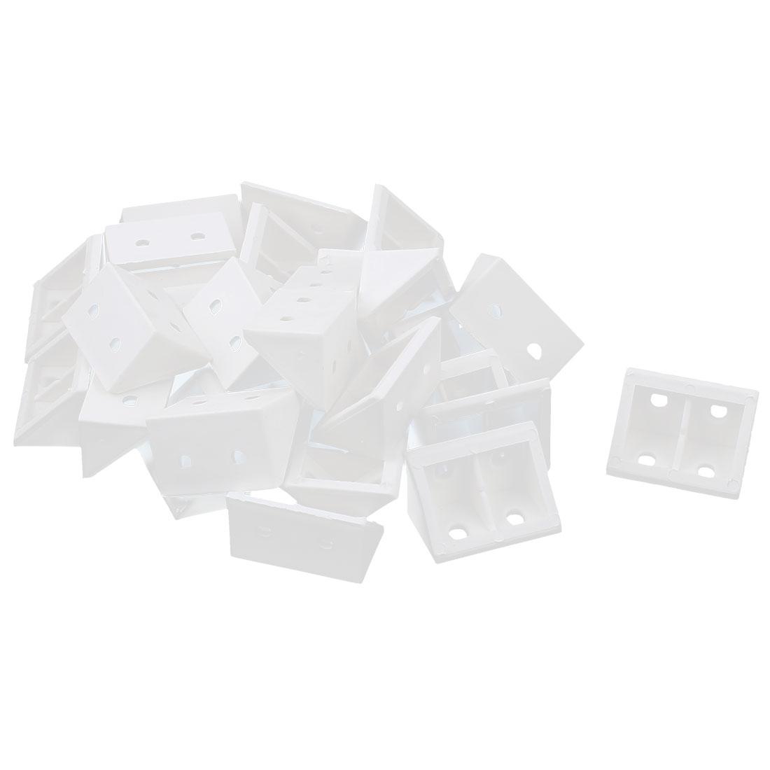 30 Pcs 90 Degree White Plastic Furniture Closet Cabinet Corner Connectors