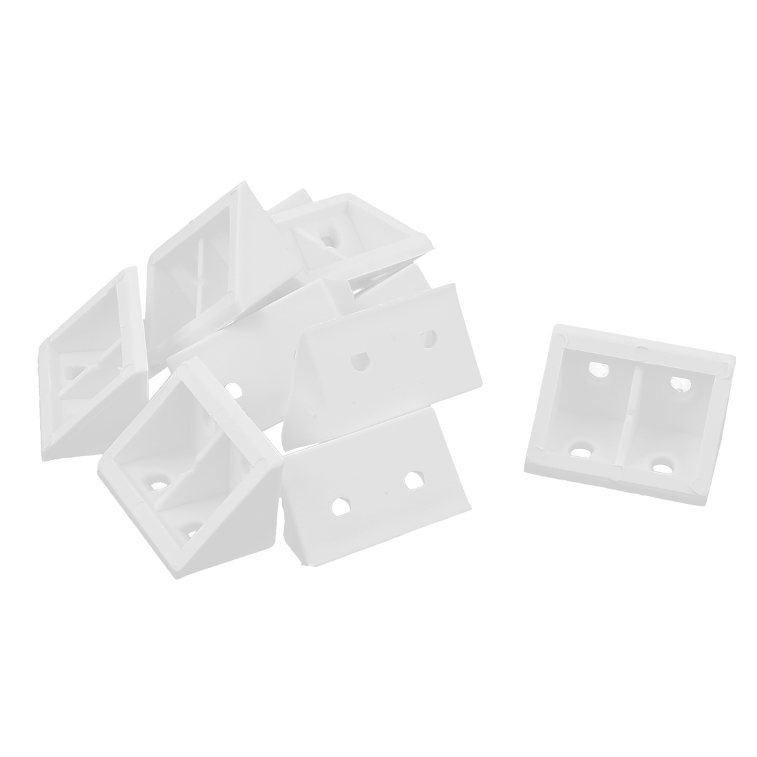 10 Pcs 90 Degree White Plastic Furniture Closet Cabinet Corner Connectors