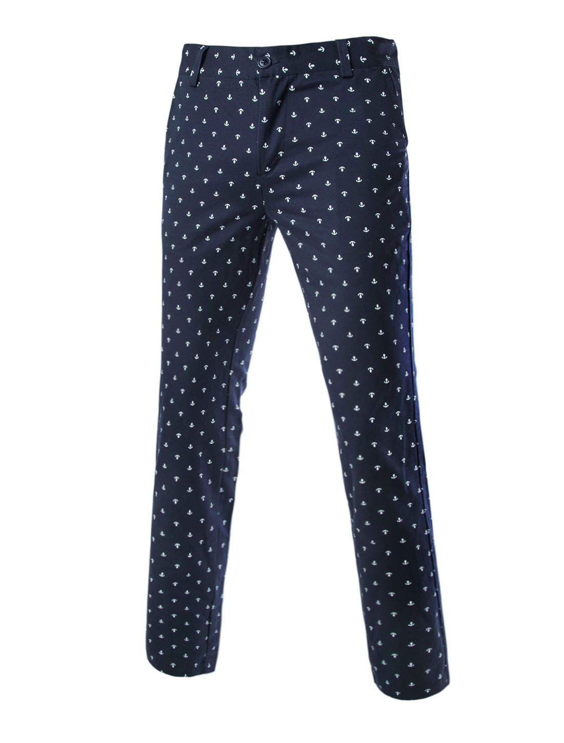 Man Anchor Pattern Side Pockets Mid Rise Smart Trousers Navy Blue W36
