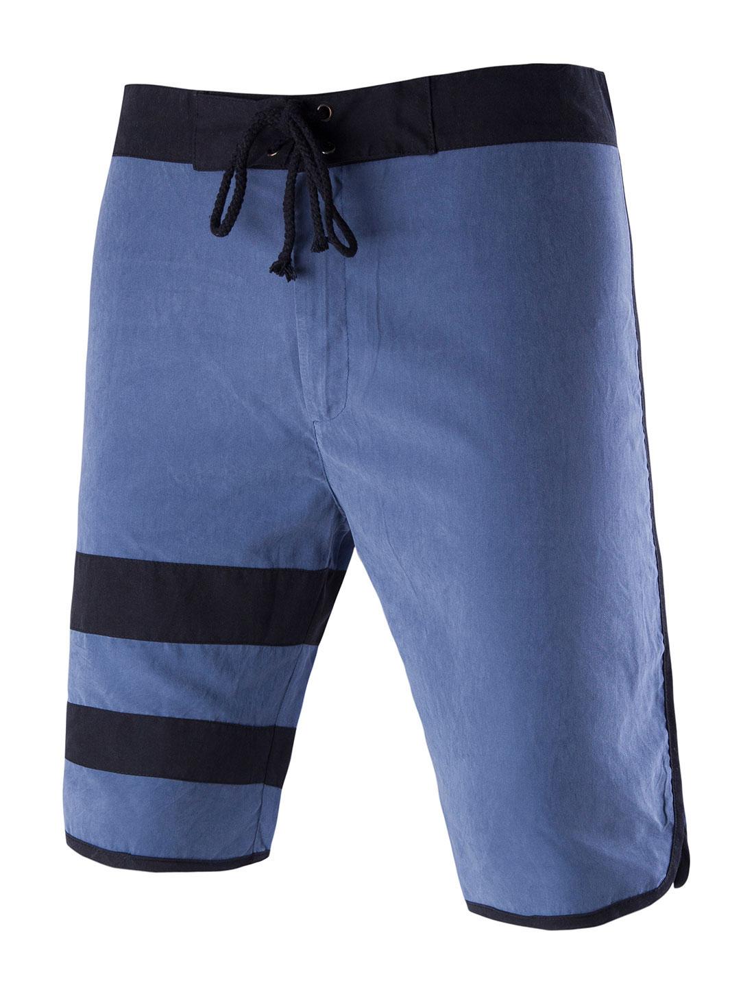 Men Flap Pockets Back Casual Stripes Shorts Blue W30