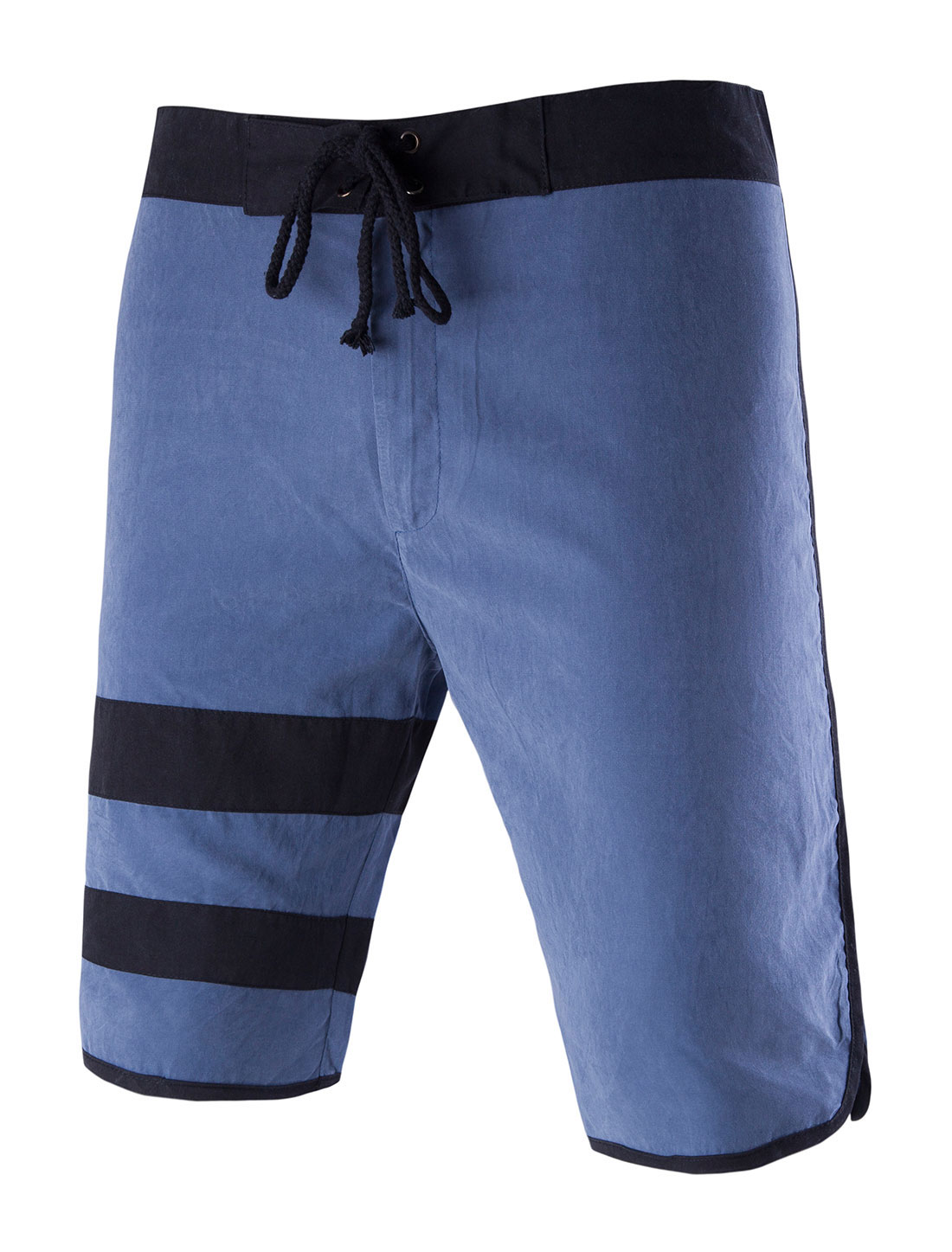 Men Drawstring Waist Contrast Color Boardshort Blue W32