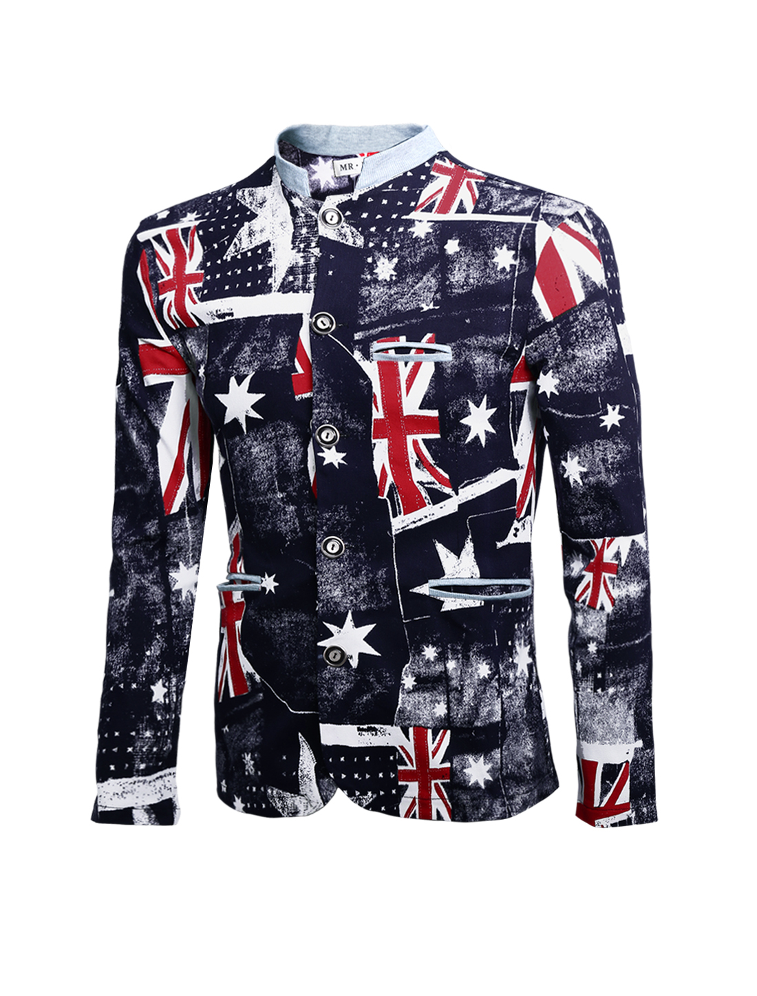 Men Union Jack Flag Pattern Button Closure Stand Collar Jacket Dark Blue M