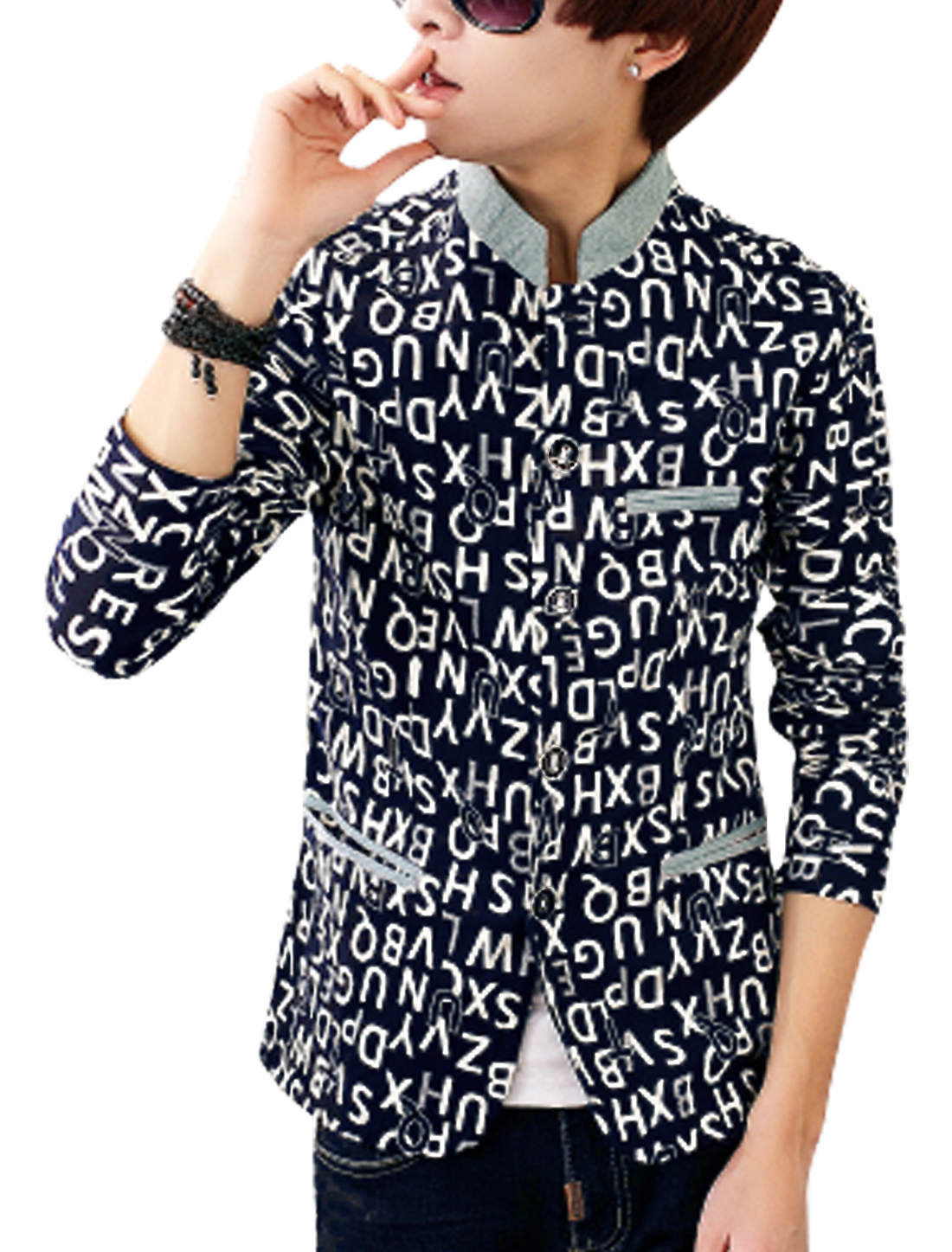 Men Letters Prints Ribbed Stand Collar Casual Jacket Navy Blue White M