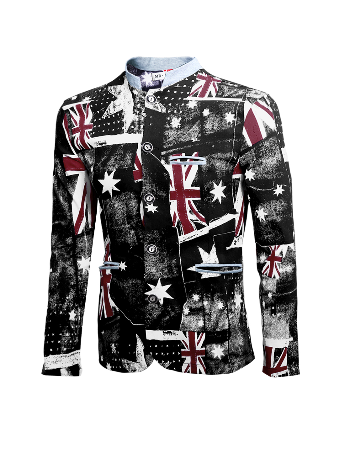 Men Union Jack Flag Pattern Pockets Front Button Down Jacket Black Red M