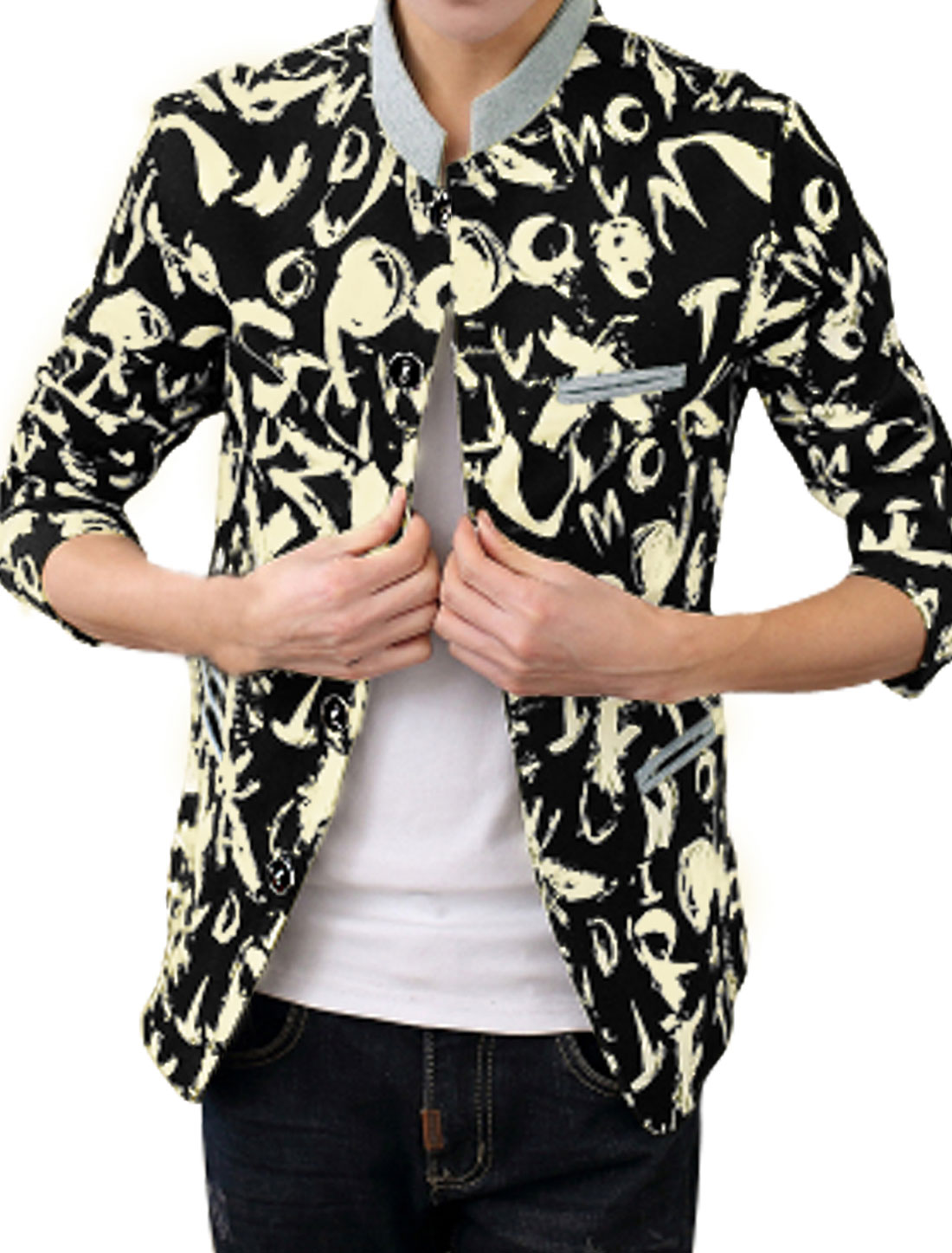 Men Letters Novelty Prints Button Down Long Sleeves Jacket Black M