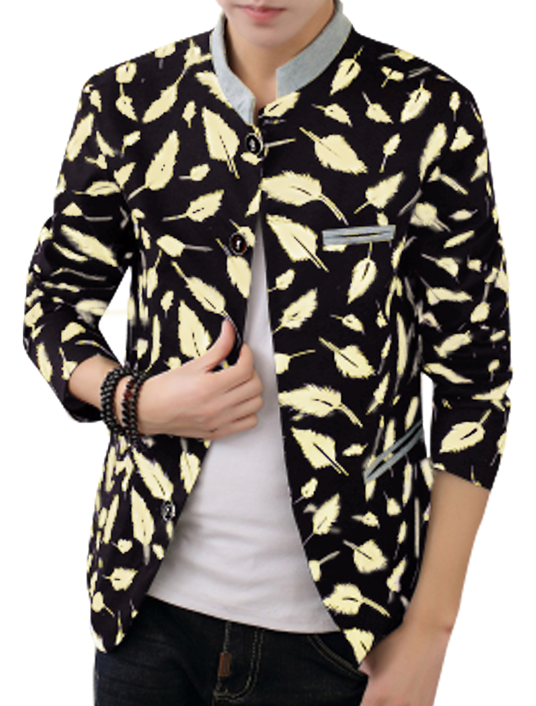 Men Feather Pattern Single Breasted Front Leisure Jacket Navy Blue M