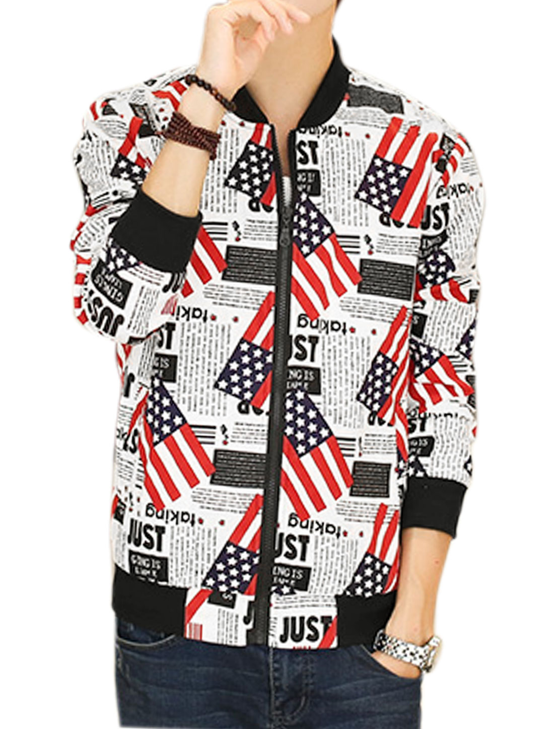 Men Flag Letters Prints Stand Collar Zip Up Jacket White M