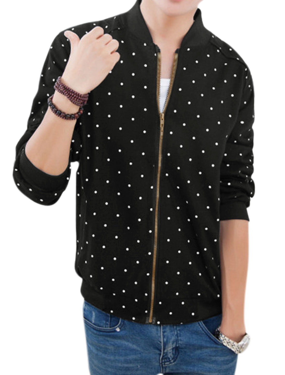 Men Dots Prints Stand Collar Long Sleeves Two Pockets Side Jacket Black M