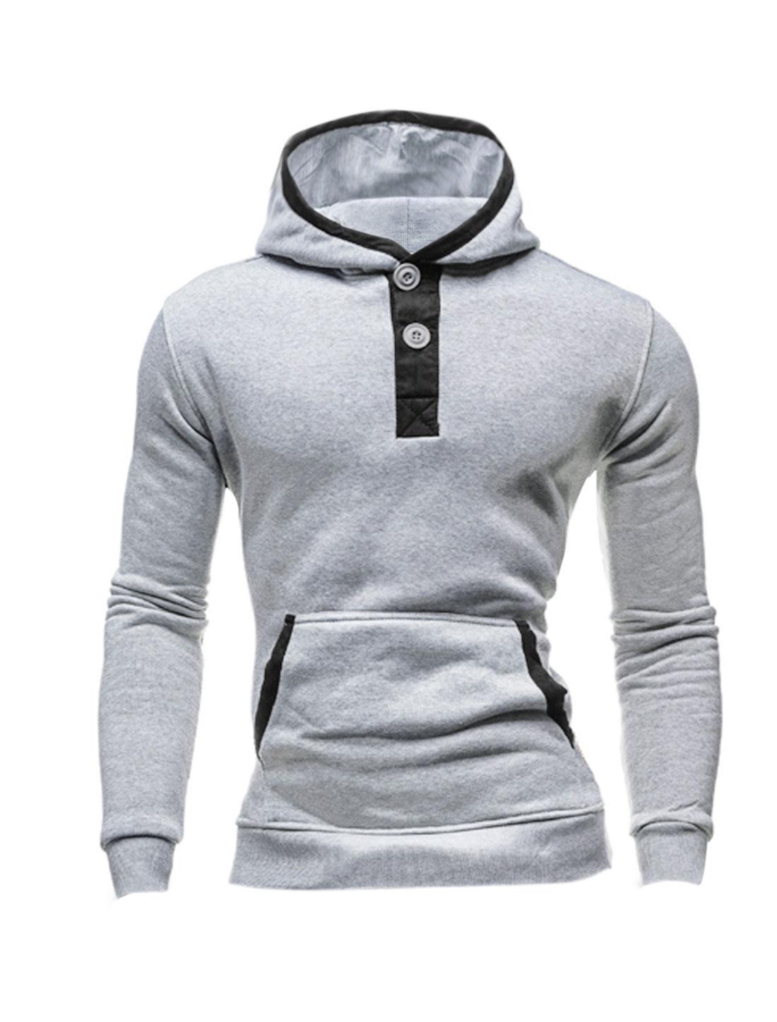 Men Long Sleeve Kangaroo Pocket Hooded Casual Sweatshirt Light Gray M