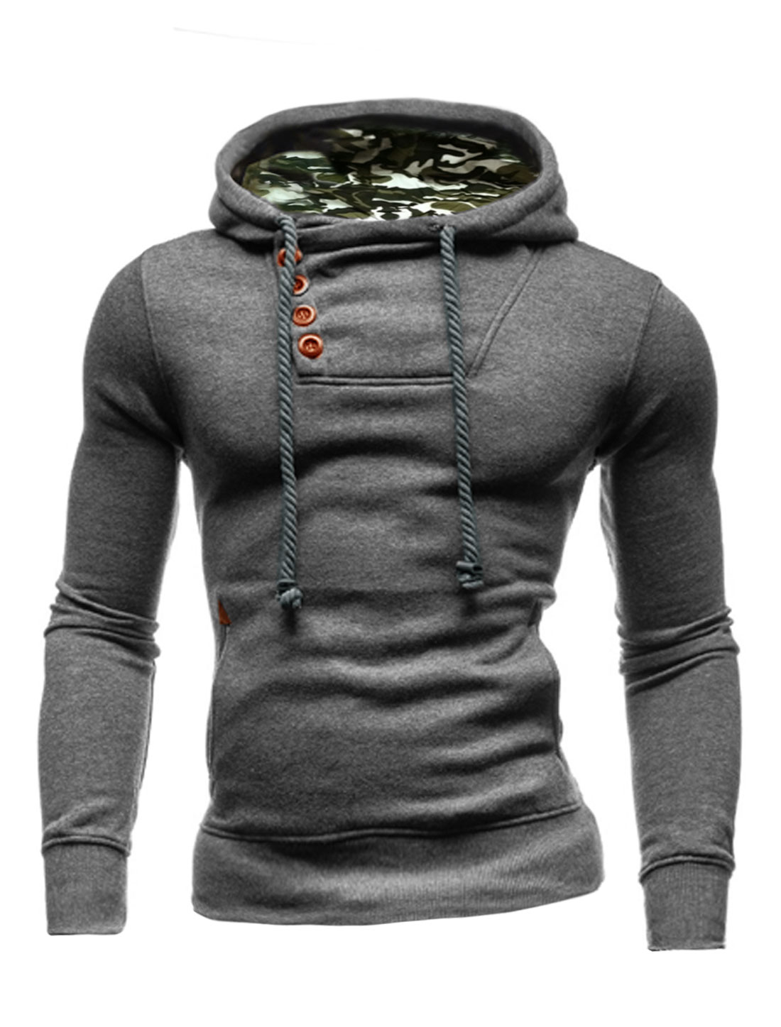 Men Long Sleeve Front Pockets Drawstring Hooded Sweatshirt Dark Gray M
