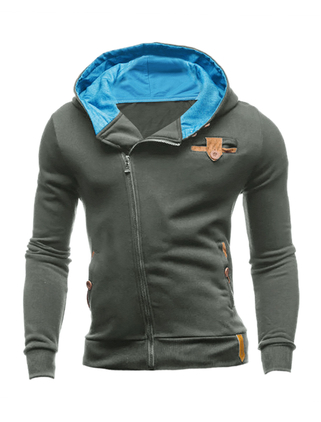 Men Inclined Zipper Closed Slant Pockets Hooded Sweatshirt Cool Gray M