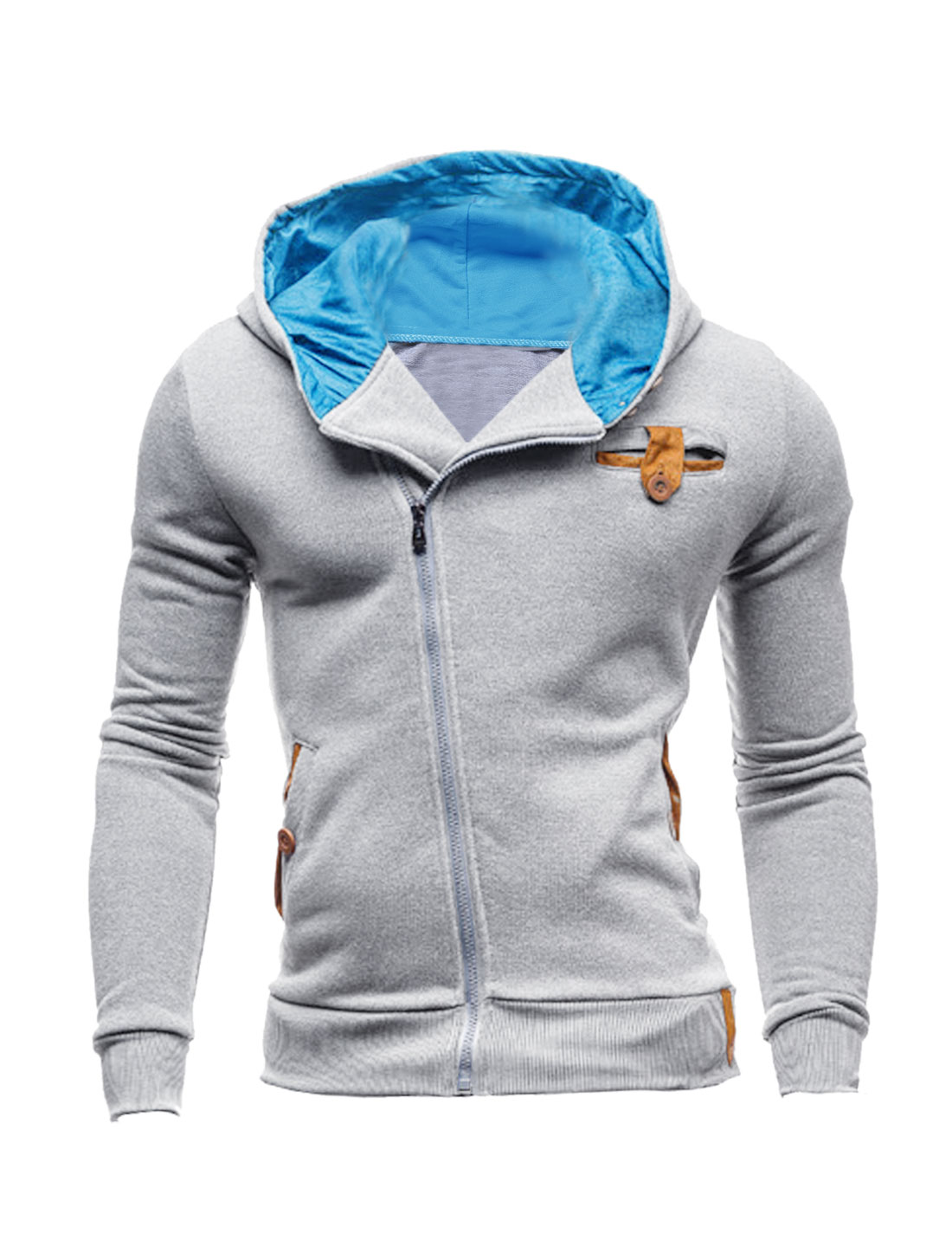 Men Long Sleeve Inclined Zipper Front Slant Pockets Hooded Jacket Light Gray M