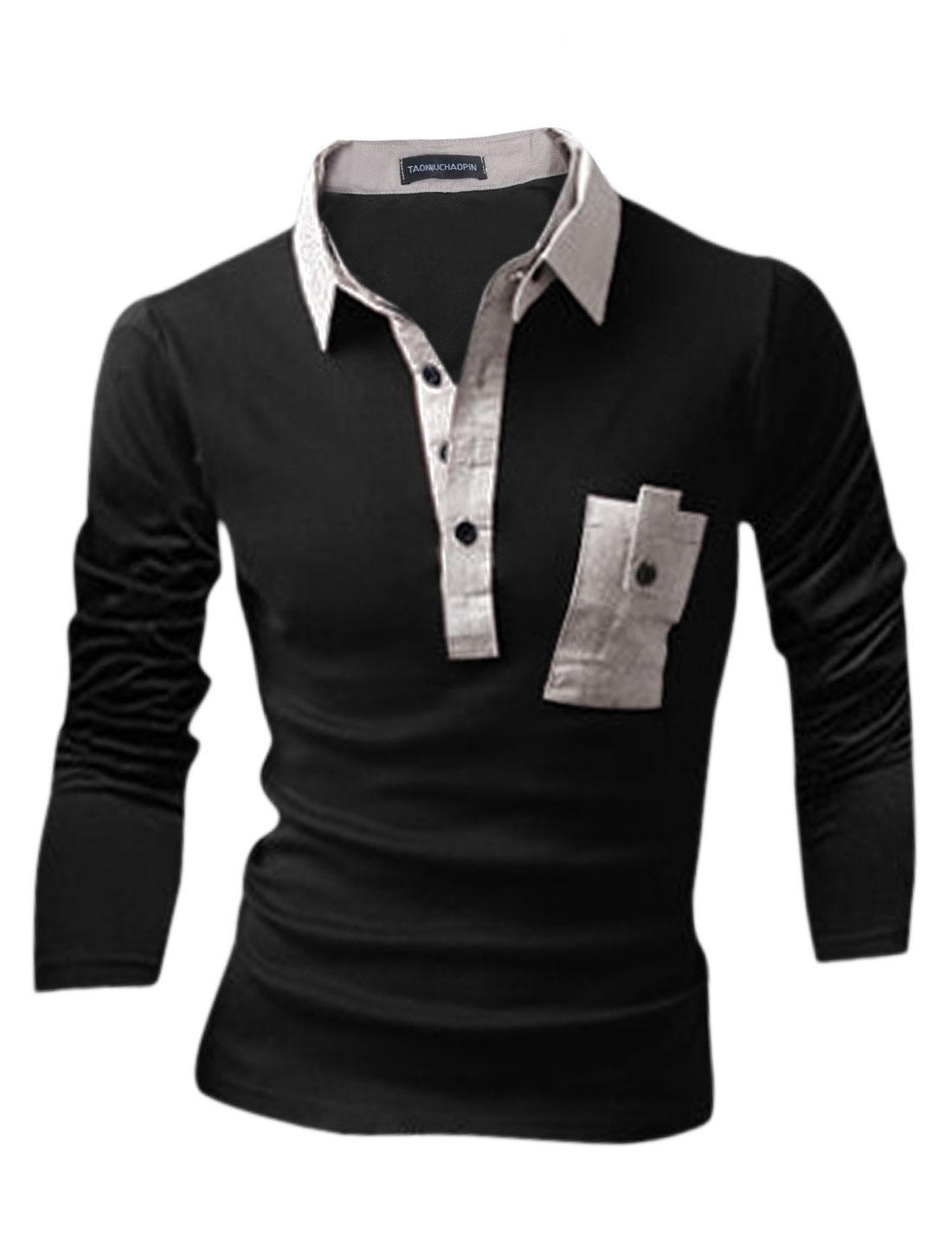Men Button Closed Upper Detachable Turn Down Collar Polo Shirt Black M